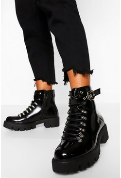 Black Lace Up Cleated Combat Boots