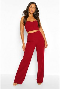 Berry red Bandeau Bralet & Wide Leg Pants Co-Ord Set