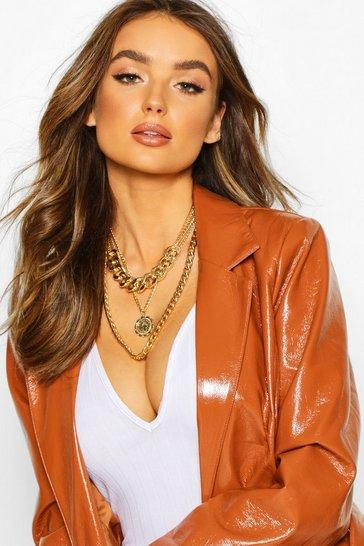 Gold metallic Layered Choker & Pendant Necklace