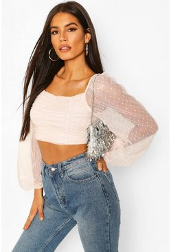 Blush pink Dobby Mesh Long Sleeve Square Neck Crop Top