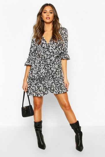 Black Woven Ruffle Front Wrap Tea Dress