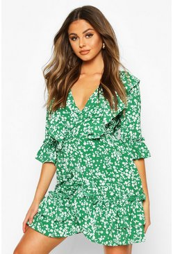 Green Woven Ruffle Front Wrap Tea Dress