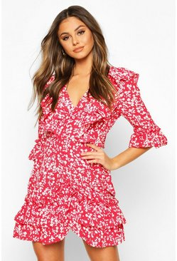 Red Woven Ruffle Front Wrap Tea Dress