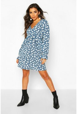 Blue Dalmatian Print Frill Smock Dress