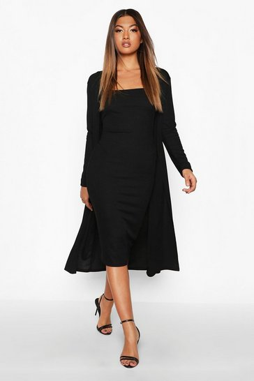 Black Ribbed Midi Dress and Duster Set