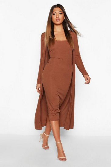 Chocolate brown Ribbed Midi Dress and Duster Set