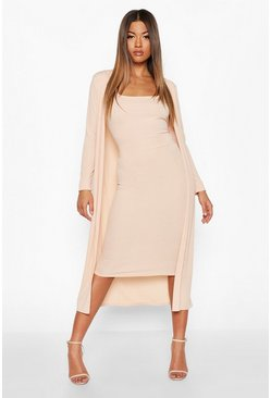 Nude Ribbed Midi Dress and Duster Set