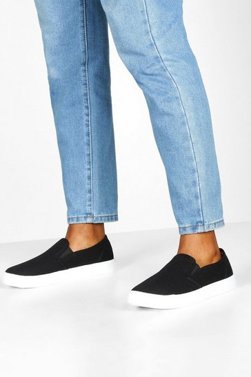 Black Basic Slip On Skater Trainers