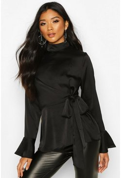 Black Satin High Neck Wrap Frill Sleeve Blouse