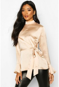 Champagne beige Satin High Neck Wrap Frill Sleeve Blouse