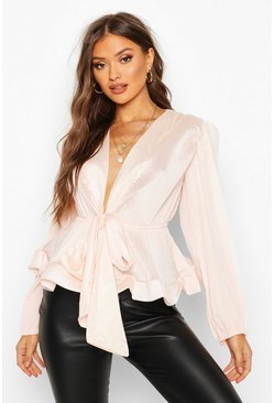 Blush pink Woven Crinkle Tie Front Blouse