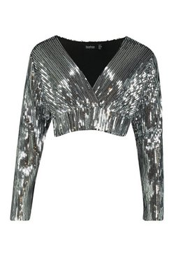 Black Sequin Wrap Top