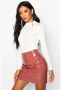 Rose pink Vinyl Mini Skirt