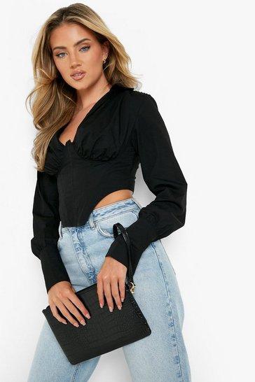 Black Croc Zip Top Clutch Bag