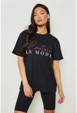 Black Couture Slogan T-Shirt