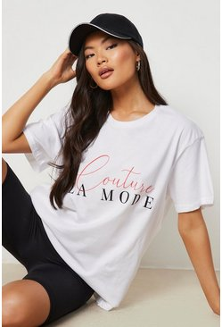 White Couture Slogan T-Shirt