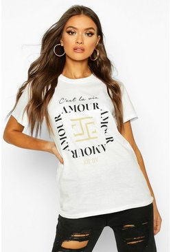 White Amour Graphic T-Shirt