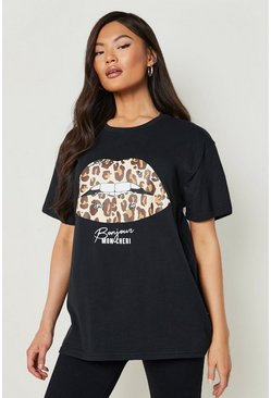 Black Leopard Lips Slogan T-Shirt