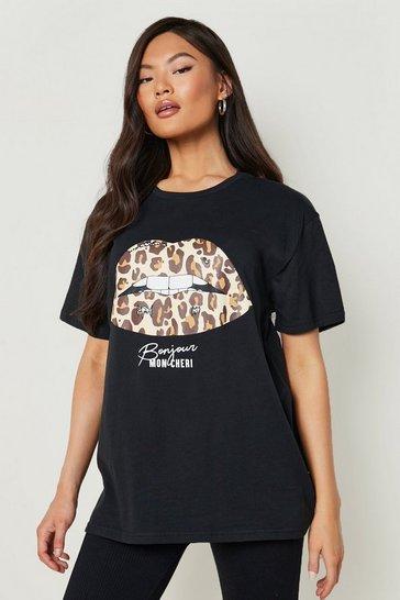 Black Leopard Lips Slogan T-Shirt
