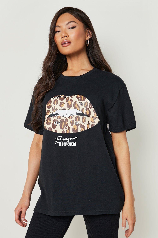 White T Shirts Leopard Lips Slogan T-Shirt