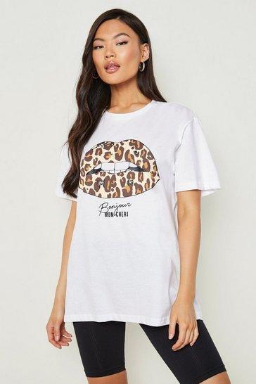 White Leopard Lips Slogan T-Shirt