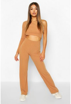 Toffee beige Rib Knit High Neck Long Sleeve Top & Trouser Set