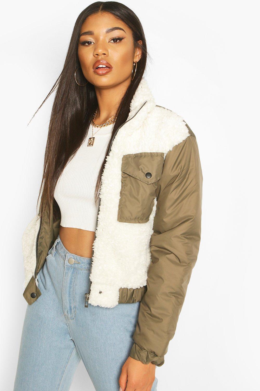 Coats & Jackets Teddy Faux Fur Mix Puffer Jacket