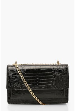 Black Croc Structured Cross Body & Chain Bag