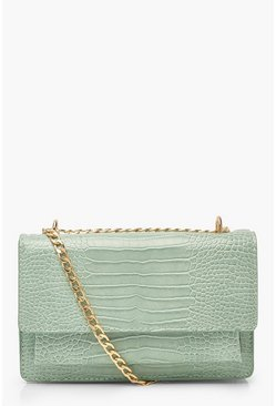 Sage green Croc Structured Cross Body & Chain Bag
