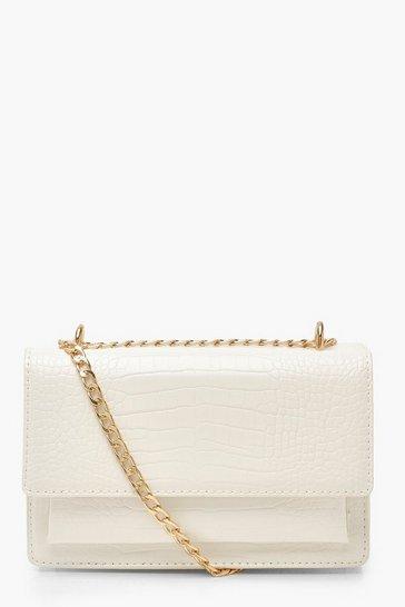 White Croc Structured Cross Body & Chain Bag