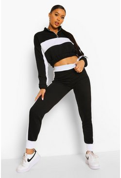 Black Zip Front Side Stripe Set