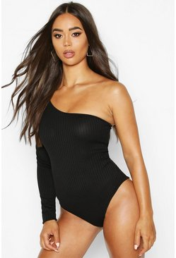 Black Rib One Shoulder Bodysuit