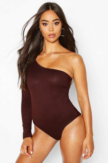 Chocolate brown Brown Rib One Shoulder Bodysuit