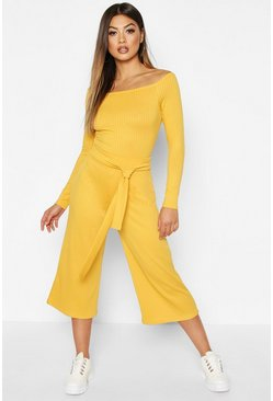 Mustard yellow Wide Leg Ribbed Culotte