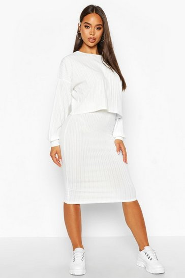 Cream white Oversized Rib Top And Midi Skirt Co-ord Set