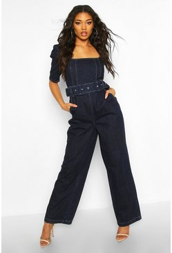 Indigo blue Belted Denim Wide Leg Jumpsuit