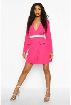 Fushia pink Collarless Double Breasted Blazer Dress