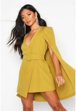 Chartreuse yellow Belted Cape Detail Blazer Dress