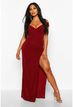 Berry red Bardot Sparkle Crepe Maxi Dress