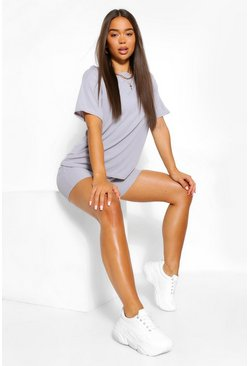 Grey Oversized T-Shirt And Biker Short Two-Piece Set