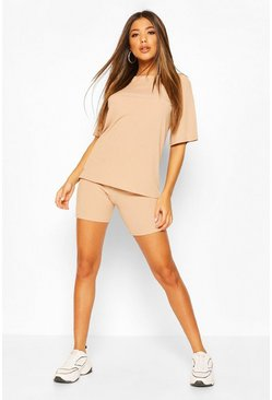 Stone beige Oversized T-Shirt and Cycling Short Co-Ord Set