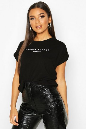 Black Amour Fatale French Slogan T-Shirt