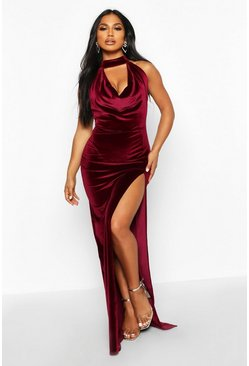 Berry red Halter Neck Velvet Backless Maxi Dress