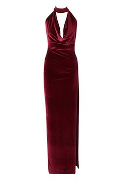 Berry Halter Neck Velvet Backless Maxi Dress