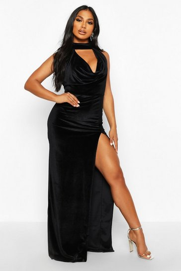 Black Halter Neck Velvet Backless Maxi Dress