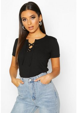 Black Lace Up Detail T-Shirt