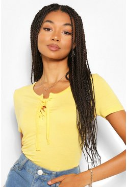 Lemon yellow Lace Up Detail T-Shirt