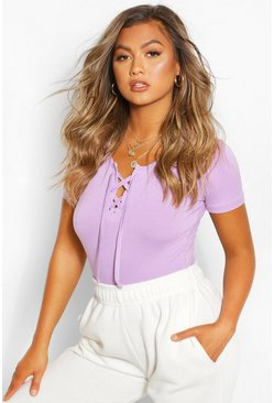 Lilac purple Lace Up Detail T-Shirt