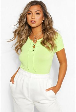 Mint green Lace Up Detail T-Shirt