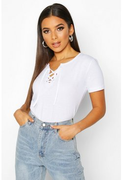 White Lace Up Detail T-Shirt